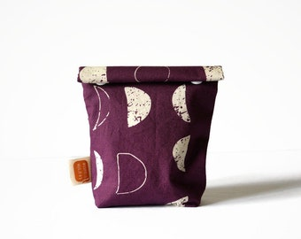 Reusable snack bag, Doggy bag size, fabric bag with Moons print [481], eco friendly, no waste lunch, washable, surprise bag, vegan