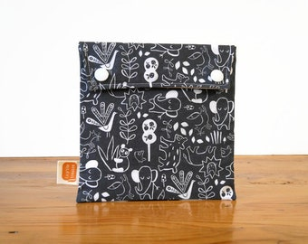 Reusable sandwich bag, reusable snack bag, fabric bag with Animals in black  print [#484], eco friendly, zero waste lunch, washable