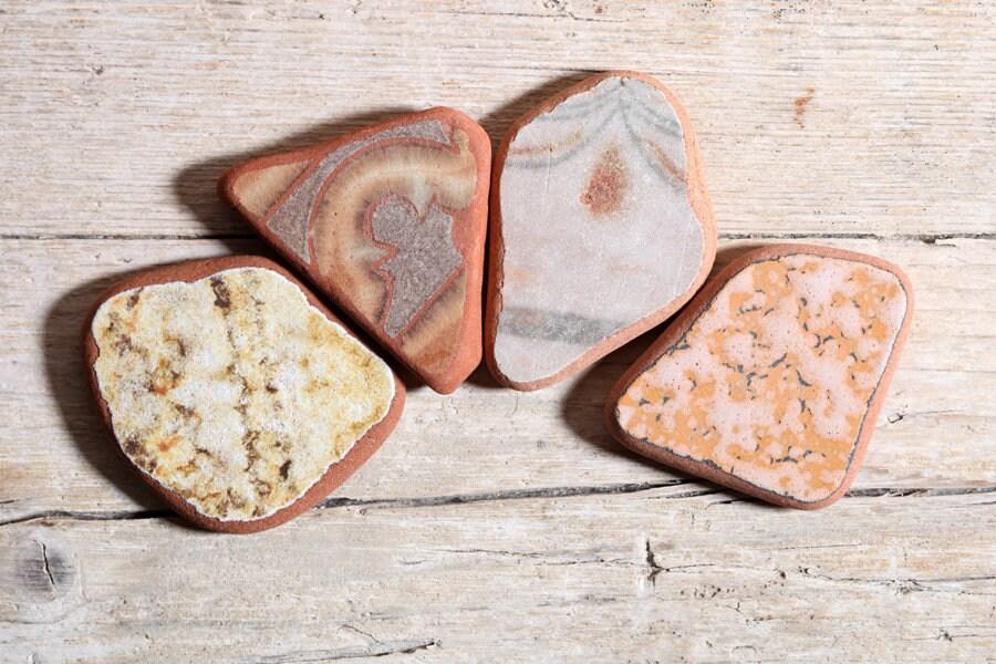 À motifs marron plage et Beige Adriatique plage marron poterie / 4 pièces (sp-0004-19) 24580f