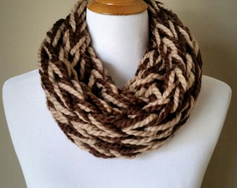 Chocolate Brown and Tan Knit Infinity Scarf