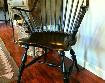 Continuous Arm Windsor Chair With Black Over Red Milk Paint Finish.