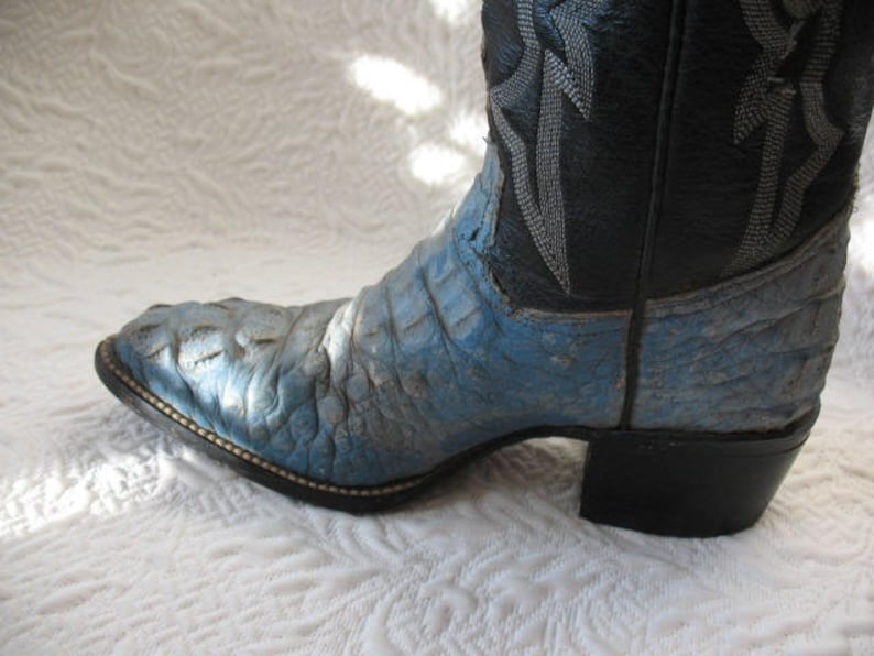 Vintage Cowboy Boots Alligator Blue Retro Mid Century Cowboy Western Women/'s Men/'s  Kid/'s Rockabilly Style Size 5 12 EE  WhenRosesBloom