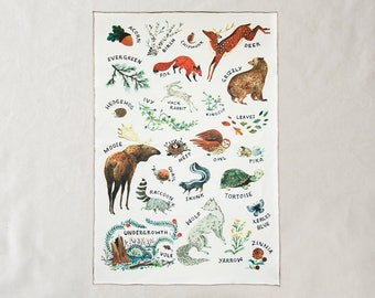 Woodland Alphabet Lined Baby Blanket - Organic Cotton - Baby Shower Gift