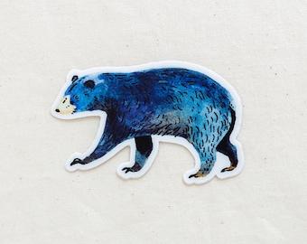 Blue Bear Animal Sticker - Waterproof Vinyl Sticker