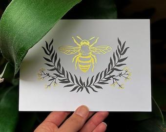 Honeybee - Art Print *REAL GOLD FOIL