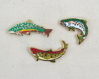 Set of 3 Trout Enamel Pins - Lapel Pin - Badge