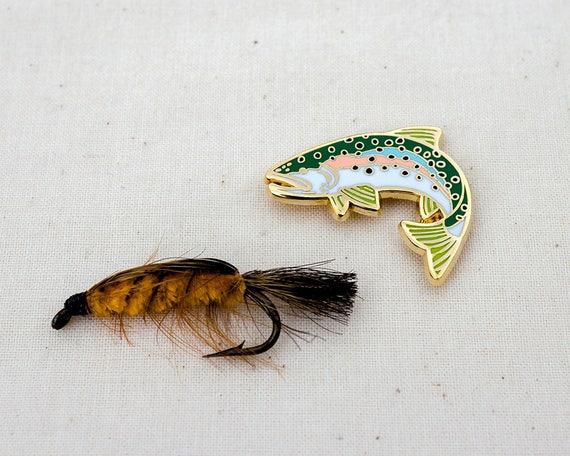Fly fishing Fishing sport English Pewter pin badge