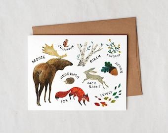Woodland Animals - Greeting Card