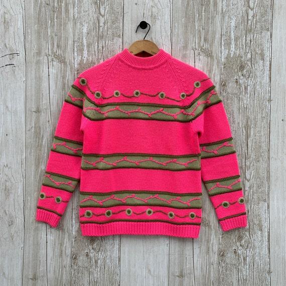 Vintage Ski Sweater White Stag Medium