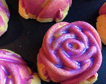 Remember. Rose shaped Bath Bomb with Biodegradable Glitter. Roses. Organic Ingredients . Vegan. Made in Utah.