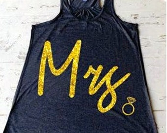 Mrs Tank, Bride Tank Top, Bridesmaid Tank Top, Bridal Party Shirts, Wedding Clothing. Bachelorette Party Shirts. Flowy Tank