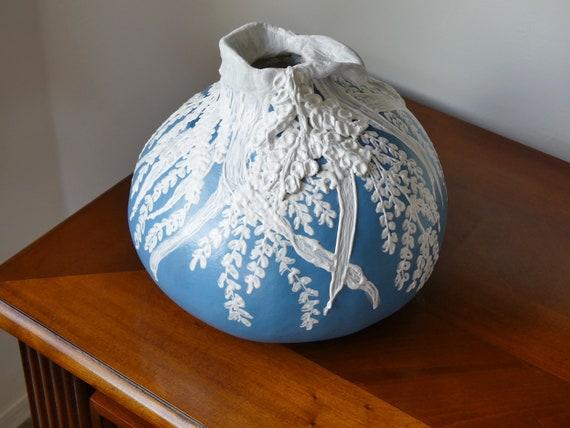 Gourd Art Blue And White Moriage Vase Etsy