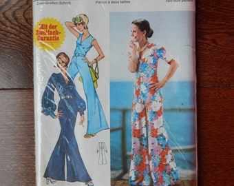 Womens Jumpsuit Sewing Pattern V- Neck Empire Waist/ Burda 6 2052/ Misses 12/14, 16 (38/40, 42)/ Retro, Please Read Description/ Uncut