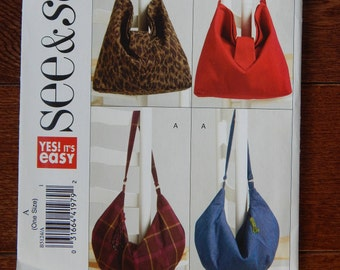 """Hand Bag Sewing Pattern/ Easy See & Sew 5124/ Two Sizes A- 17.5"""" W x 11.5"""" L or B- 14"""" W x 13.5"""" L/magnets, zipper, hobo, slouch bag/Uncut"""