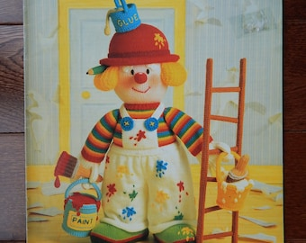 Clown Knitting Pattern/ Knitted Clowns, The Red Nose Gang by Jean Greenhowe's/ Painting, Bedtime,Cook,Tourist, Gardener/ Knitted Dolls