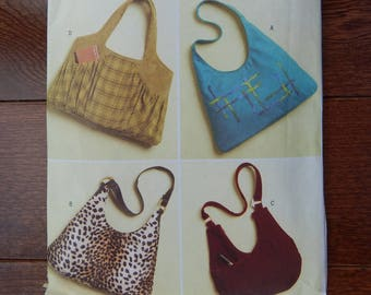 "Large Hand Bag Sewing Pattern/ Butterick 5109/ 3 Sizes A,B- 18"" W x 15.5"" L/ C- 16"" W x 15.5"" L/ D- 19"" W x 13"" L/ hobo, slouch bag/ Uncut"