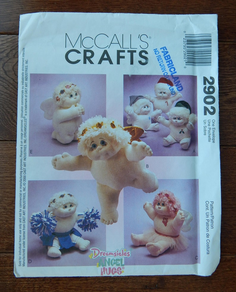 Dreamsicles Angel Hugs Dolls Sewing Pattern Mccalls 2902 Approx 15 Tall Soft Sculpture Doll Valentines Special Occasion Uncut