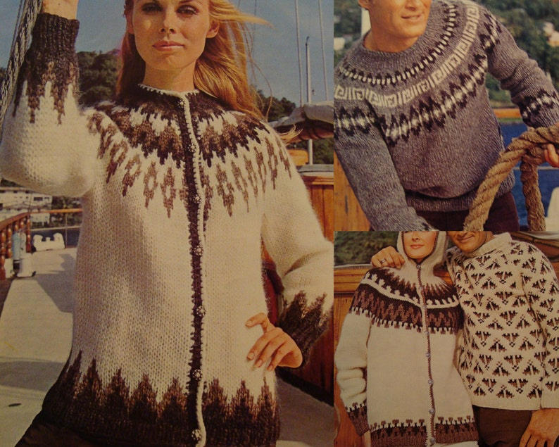 a3ab4ef38eac00 Vintage Icelandic Style Knitting Patterns Cardigan Pullover