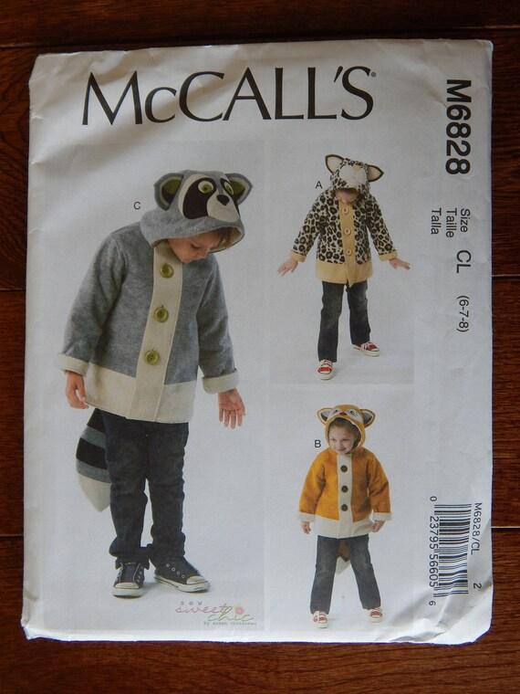 Tier Jacke Nähen Muster Waschbär Fuchs Katze / McCalls 6828 | Etsy