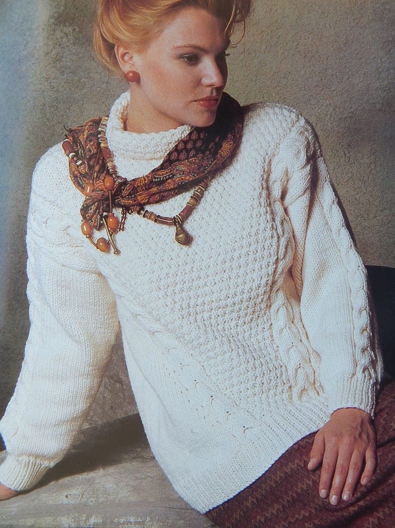 450b9fe6dca1ac Cable Pullover Sweater Knitting Pattern  8 Projects Patons