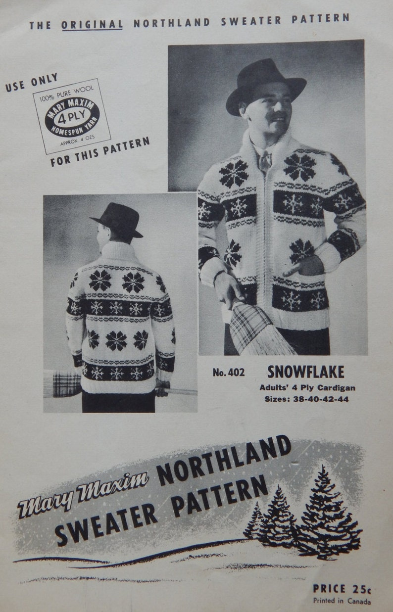576f5db3f Vintage Snowflake Sweater Knitting Pattern Zipper Front, Mary Maxim No.  402/ Men Women Unisex 38- 40- 42- 44 / Chart, Graph, Bulky, Cardigan