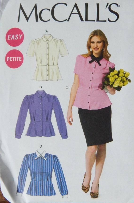 Tops Blouse Sewing Pattern Peplum Waist Pleats Button Etsy