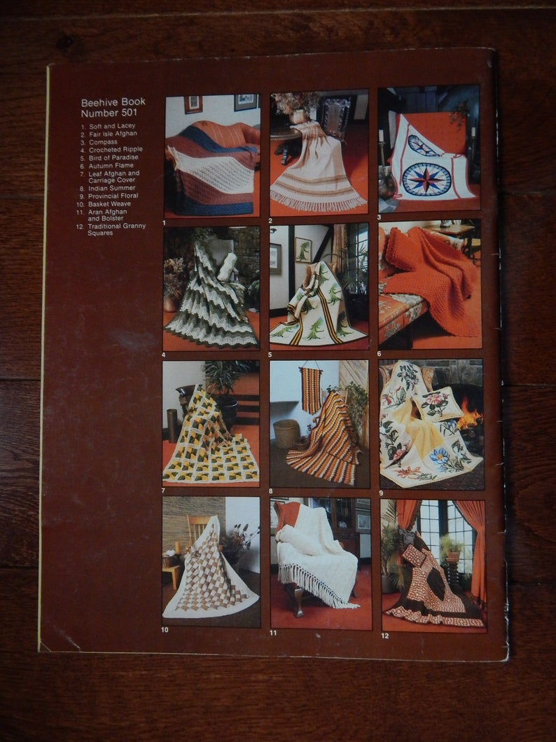 Knitting Crochet Pattern Book Heritage Afghan By Patons 12 Etsy