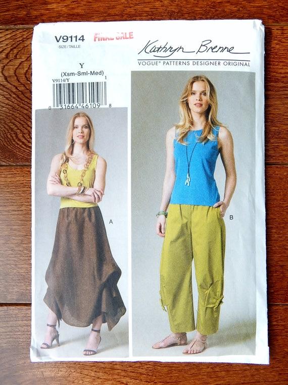 Unusual Pants & Skirt Sewing Pattern, Elastic Waist, Shaped Hemline ...