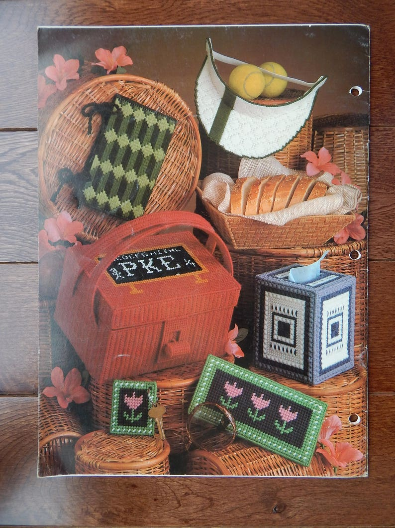 Desk Set Bread Basket More Needlepoint Projects Plastic Canvas Patterns Tissue Box Cover Album Cover 16 Projects Leisure Arts 184,