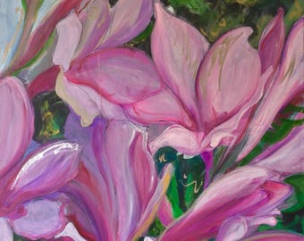 Painting of pink and white flowers