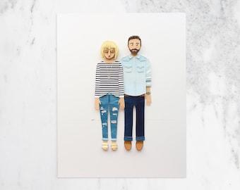 One Year Paper Anniversary Gift, Custom  Portrait, Custom Couple Portrait, Great Gift for Her, Custom Paper Portrait, 1st anniversary
