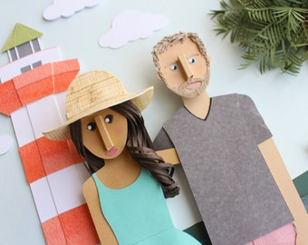 Couples Portrait, paper art, custom portrait, beach art, lighthouse art, gifts for him, gift for her, one year anniversary gift, paper gift