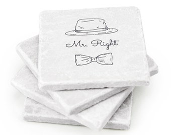 Mr Right and Mrs Always Right Set – Ideal Unique Wedding Gift, Bridal Shower Gift or Anniversary Gift – 4 Pack
