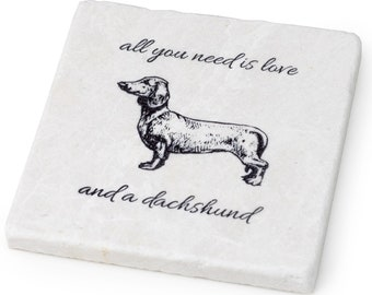 Four Handcrafted Marble Stone Dachshund Coaster Set