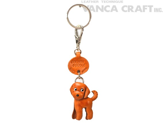 Labradoodle 3D Leather Key chain ring *VANCA* Made in Japan #56799
