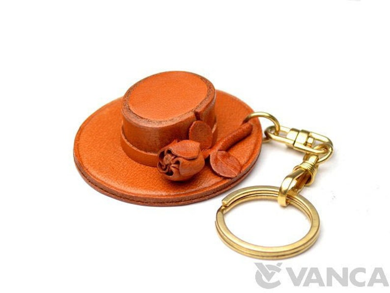 Spanish Hat 3D Leather Keychain L *VANCA* Made in Japan #56836\u3000Free Shipping