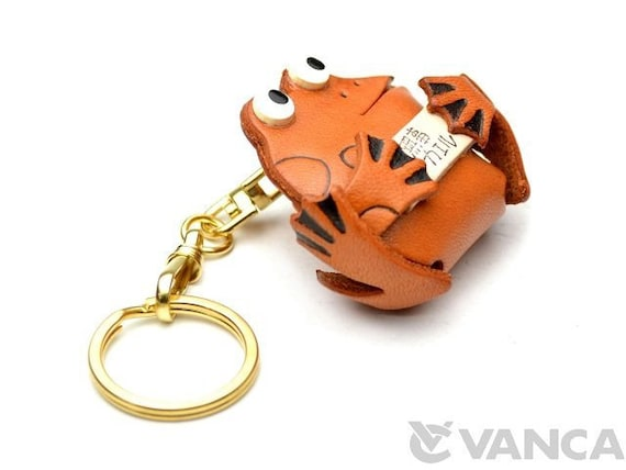 Keychain Charm *VANCA* Made in Japan #56869 Lucky Frog Handmade 3D Leather L