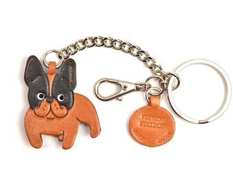French Bulldog 3D Leather Dog/Animal Ring/Bag Charm Keychain Keyring key fob/Accessory *VANCA* Made in Japan #26061
