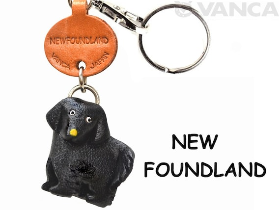 Newfoundland Handmade 3D Leather Dog Key chain//ring *VANCA* Made in Japan #56743