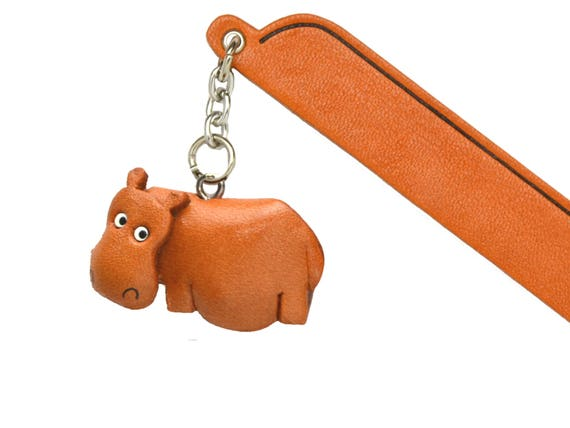 Standing Hippopotamus Image Black Leather Keyring in Gift Box