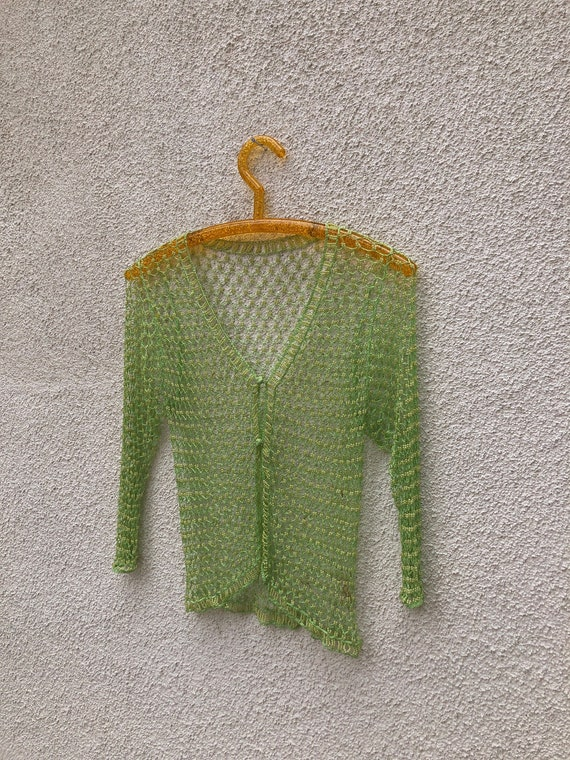 Crochet Beaded Sheer Cardigan Lime Green 90s