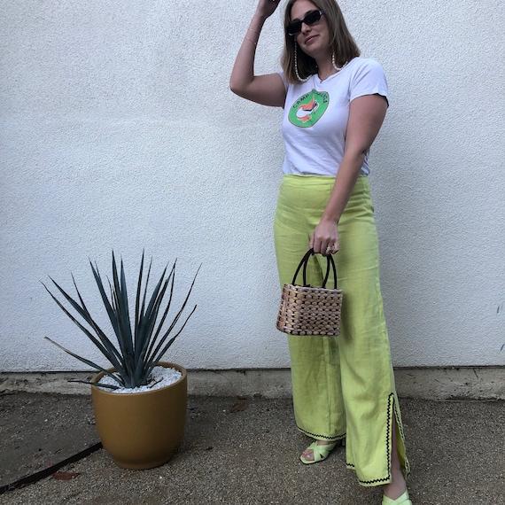 Vintage 1980s Lime Green Linen Flare Pants