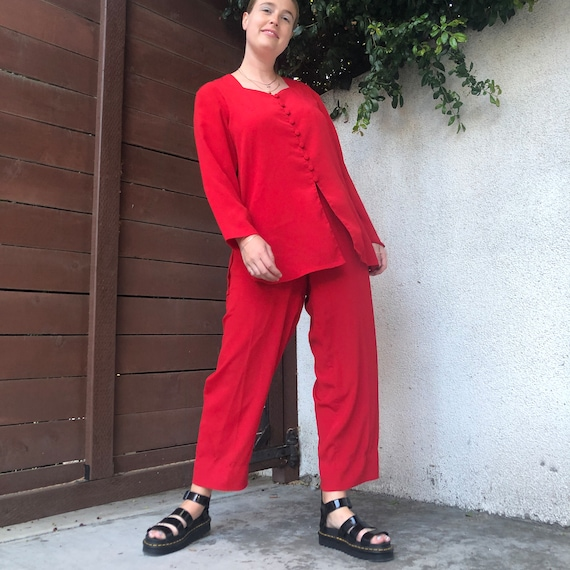 Vintage Cherry Red Matching Pants Set