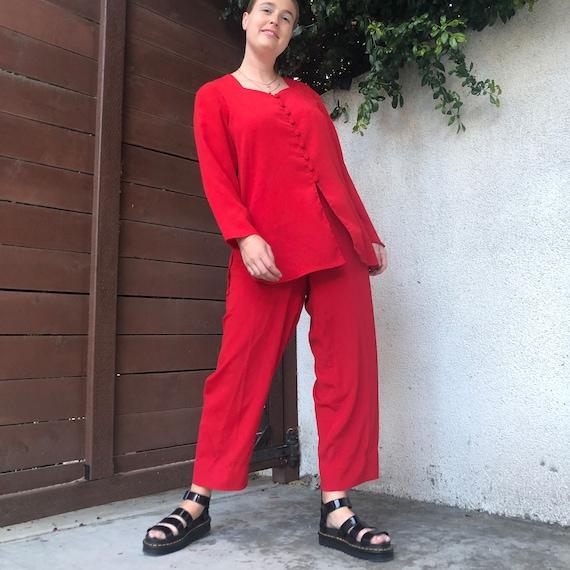 Vintage Cherry Red Matching Pants Set - image 1