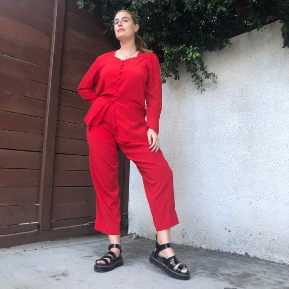 Vintage Cherry Red Matching Pants Set - image 2