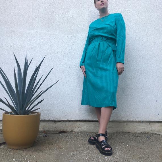 Vintage 80s Satin Turquoise Long Sleeve Midi Dress