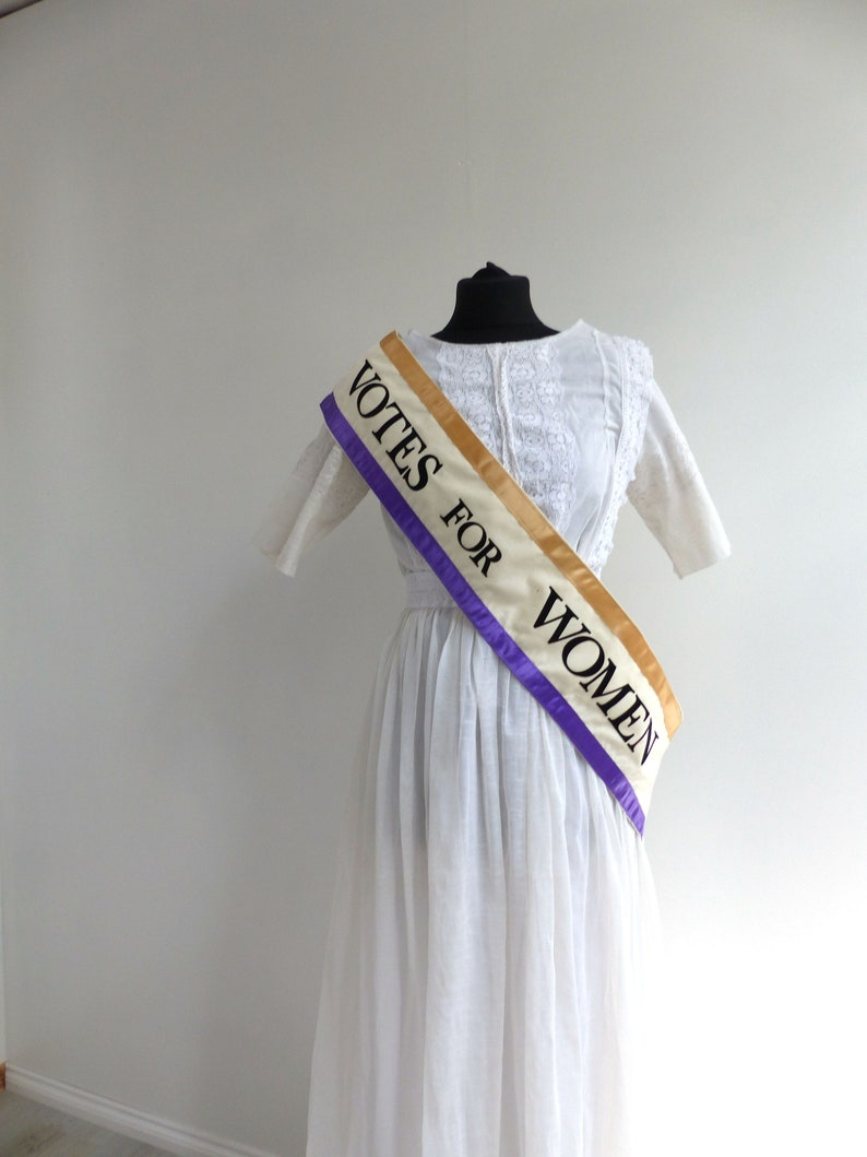 1920s Outfit Ideas: 10 Downton Abbey Inspired Costumes American Suffragette Protest Sash Votes Of Women Edwardian 1920 Costume Accessories $20.45 AT vintagedancer.com