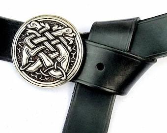 LARP-belt with Celtic dogs buckle - [10 La 4 HU:]