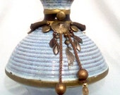 Designer Original/Light blue ceramic accent with brushed ridges/Old Century charm/Spinning top/One of a kind/Whirls Away by Kathryn Preston