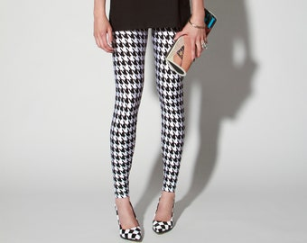 Reticulated Roses Leggings Black and White Sizes Extra Small and Extra Large Spandex